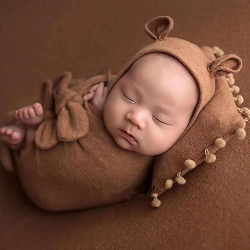 3Pcs/Set Baby Hat Pillow Wrap Newborn Photography Props Infants Photo Shooting Accessories