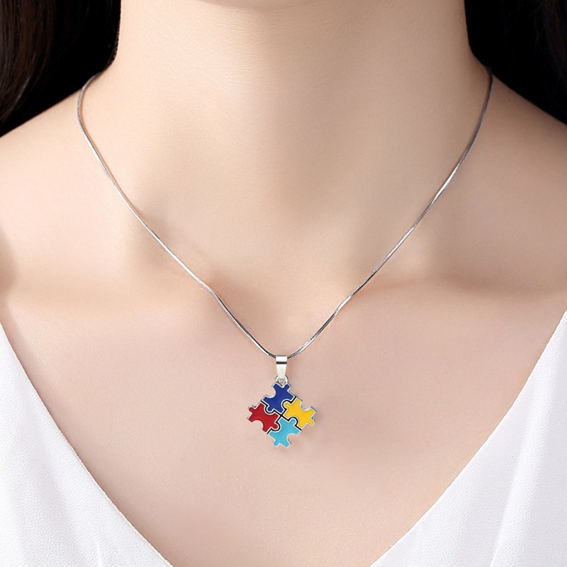 Autism Awareness Jigsaw Puzzle Piece Necklace For Women Girls Multicolor Enamel Crystal Paved Pendant Necklace Fashion Jewelry(China)