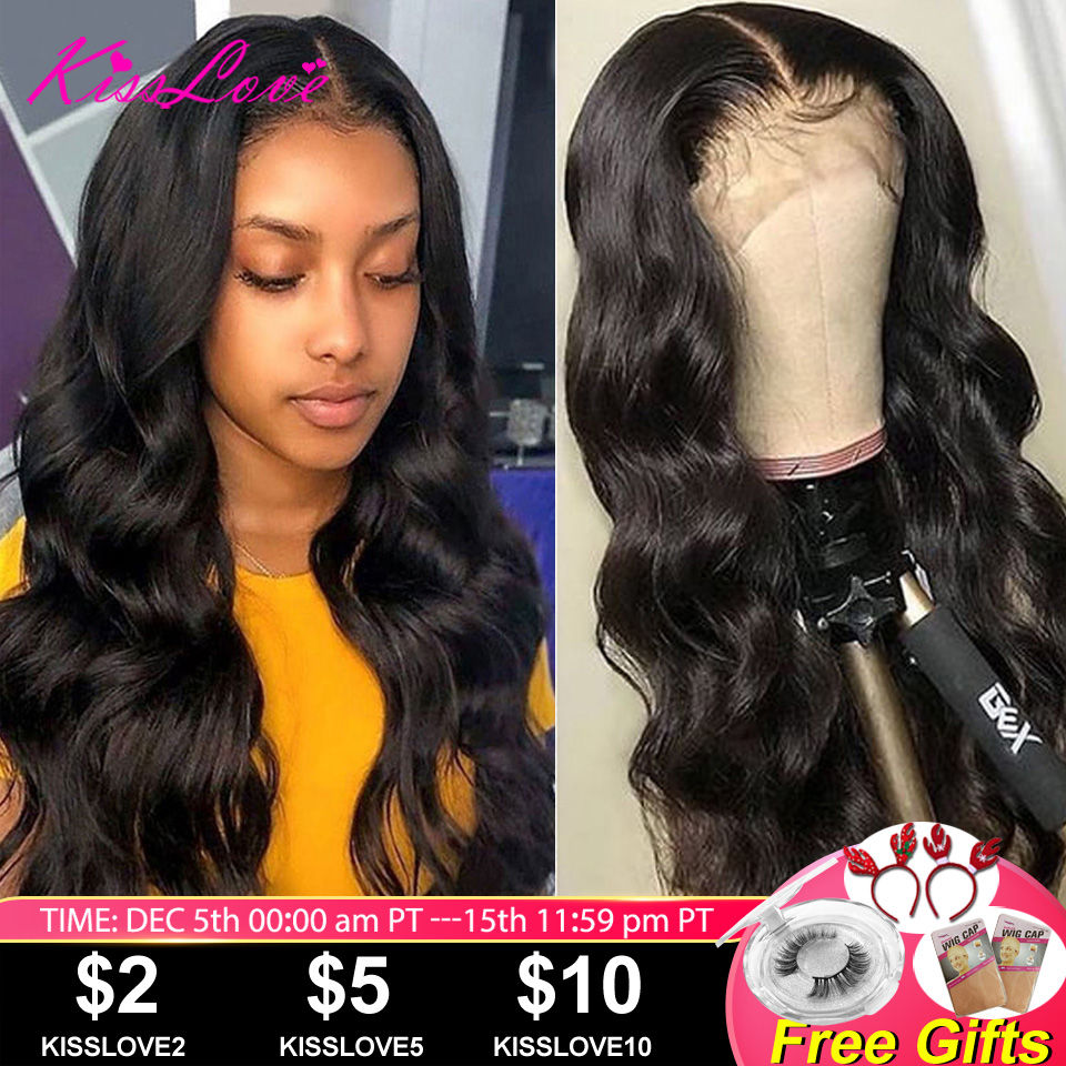 Full Lace Human Hair Wigs For Black Women Brazilian Body Wave Wigs Middle Ratio Remy Hair Preplucked Bleached Knots Kiss Love