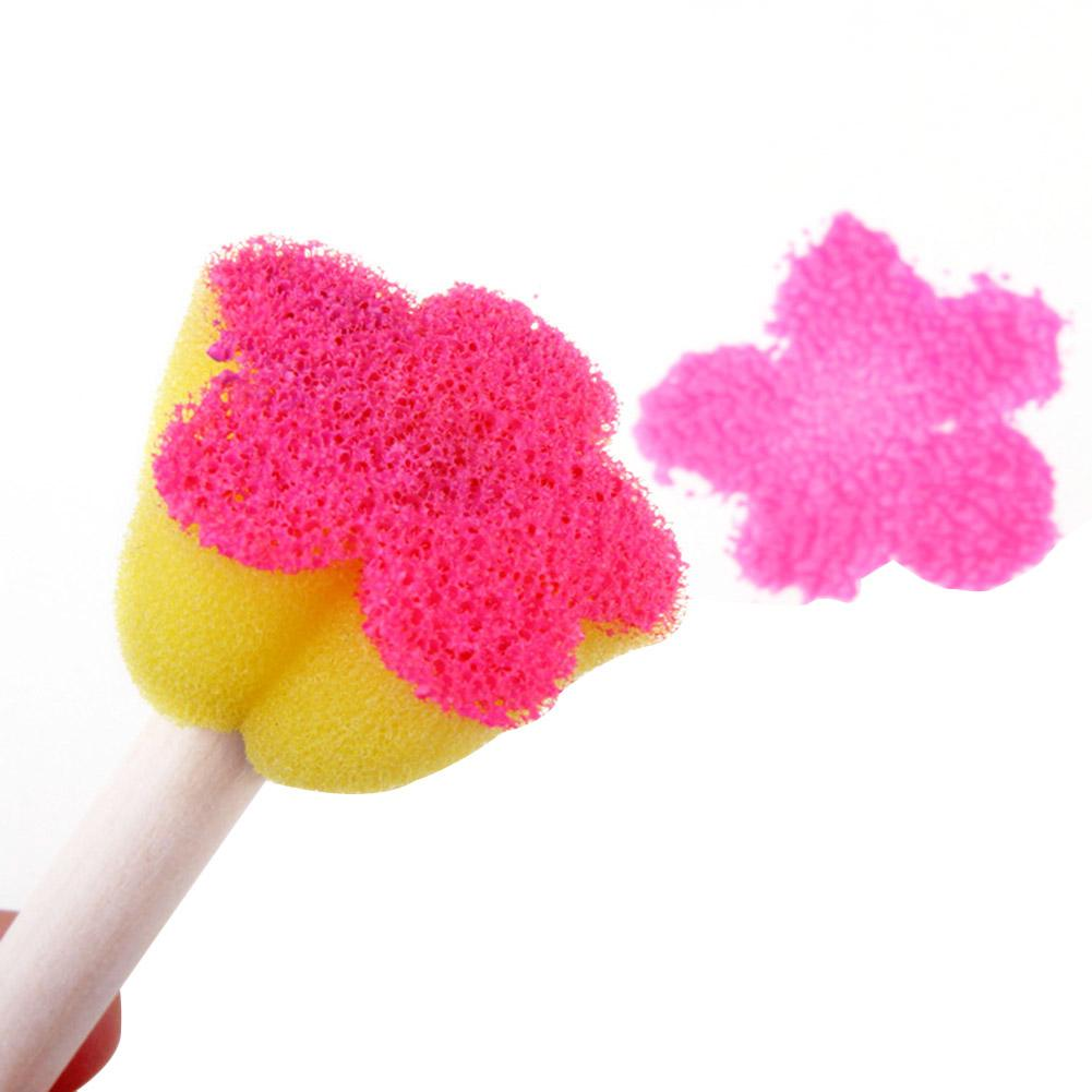 5Pcs DIY Flower Graffiti Sponge Art Supplies Brushes Seal Painting Tools Funny Drawing Toys Funny Creative Toy for Kid Children in Stamps Toys from Toys Hobbies