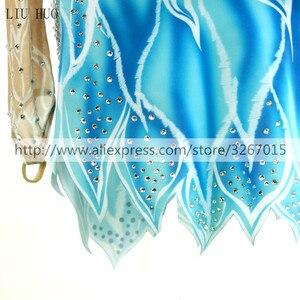 Image 4 - สเก็ตผู้หญิงs สเก็ตน้ำแข็งสีฟ้า/สีขาวยืดการแข่งขันสเก็ตสวมใส่คลาสสิกแขนยาว Ice