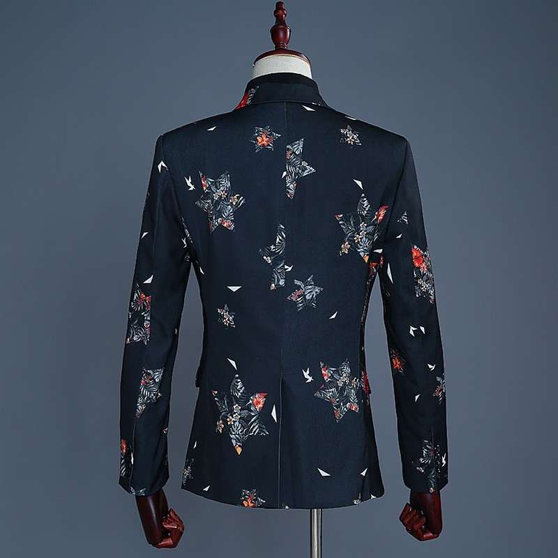 2020 Latest Coat Pant Designs Men Fashion Five-Pointed Star Print Casual Slim Fit Elegant Groom Wedding Suit Male Costume Homme