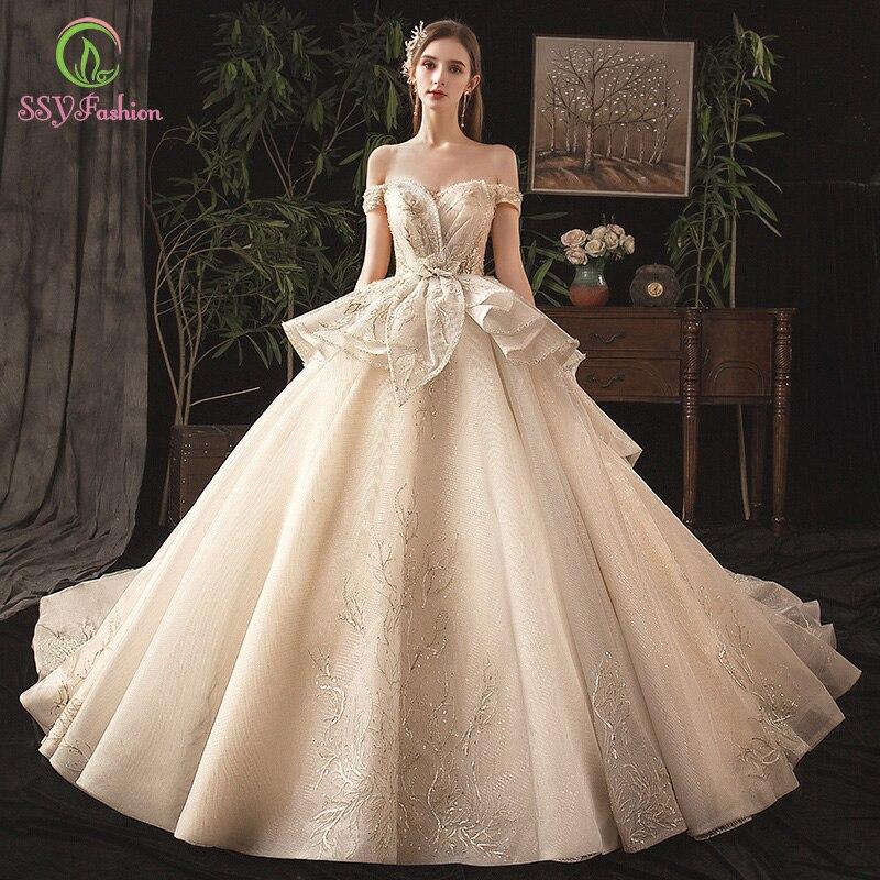 SSYFashion Luxury Champagne Wedding Dress High-end Bride Princess Sequins Beading Court Train Wedding Gown Vestido De Noiva