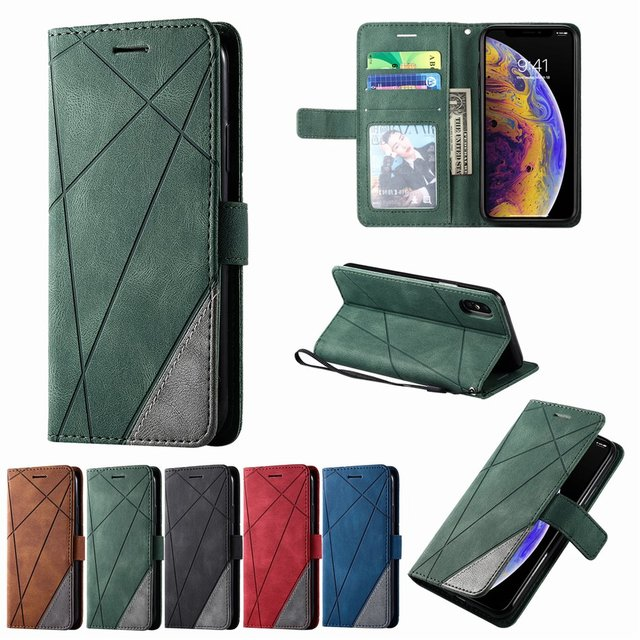 Stand Business Phone Holster For Etui Xiaomi 11 Poco X3 Nfc M3 Redmi Note 10 Pro 7 7A 8 8A 8T 9 Stripe Wallet Rhombus Case D21G 5