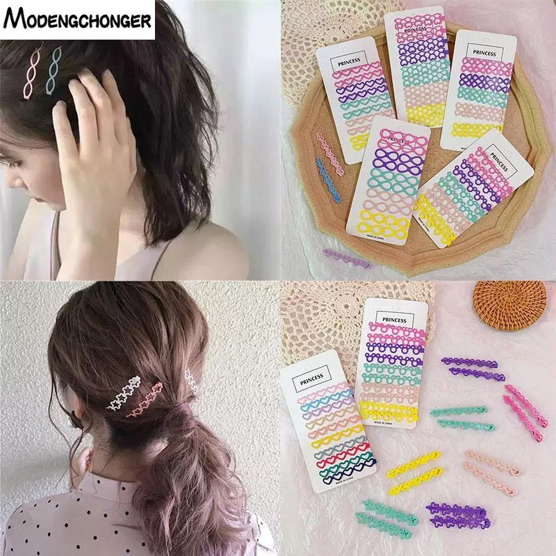 10Pcs/Set Candy Colors Hair Clip Style Metal Barrette Side Cross Steel Clip For Women Girls Kids Korean Hairpin Hair Accessories