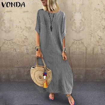 Summer Dress 2020 VONDA Maxi Long Dresses Women Party Robe Femme Vintage Beach Sexy Shirt Sundress Plus Size S-5XL Vestidos vonda summer dress 2020 women sexy ruffled neck sleeveless tank mini dresses plus size bohemian party robe femme vestidos