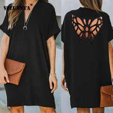 3XL Sexy Backless Butterfly Design Hollow Out Dresses Women V-neck Office Lady Dress 2021 Spring Summer Short Sleeve Party Dress