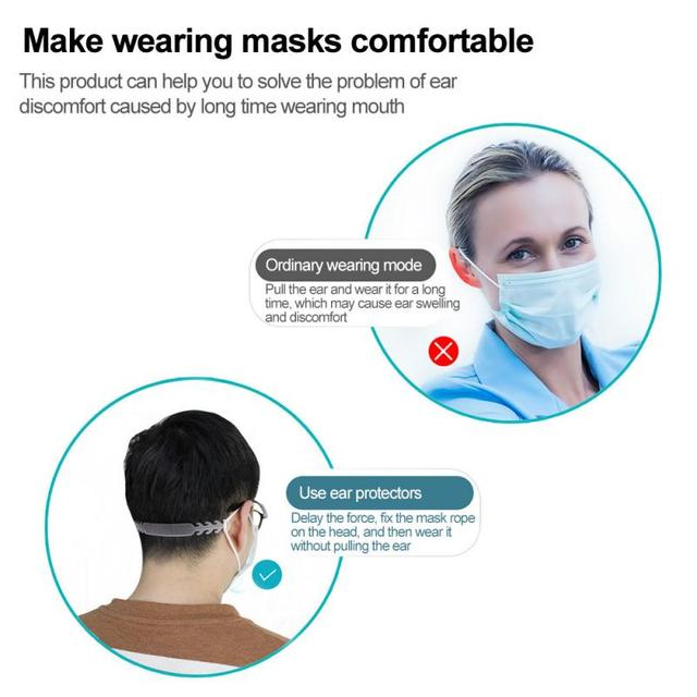 Soft Face Mask Ear Hooks Buckle Kids Adjustable Earache Fixer Ear Grip Extension Hook Ear Pain Prevention Extension Belt 5