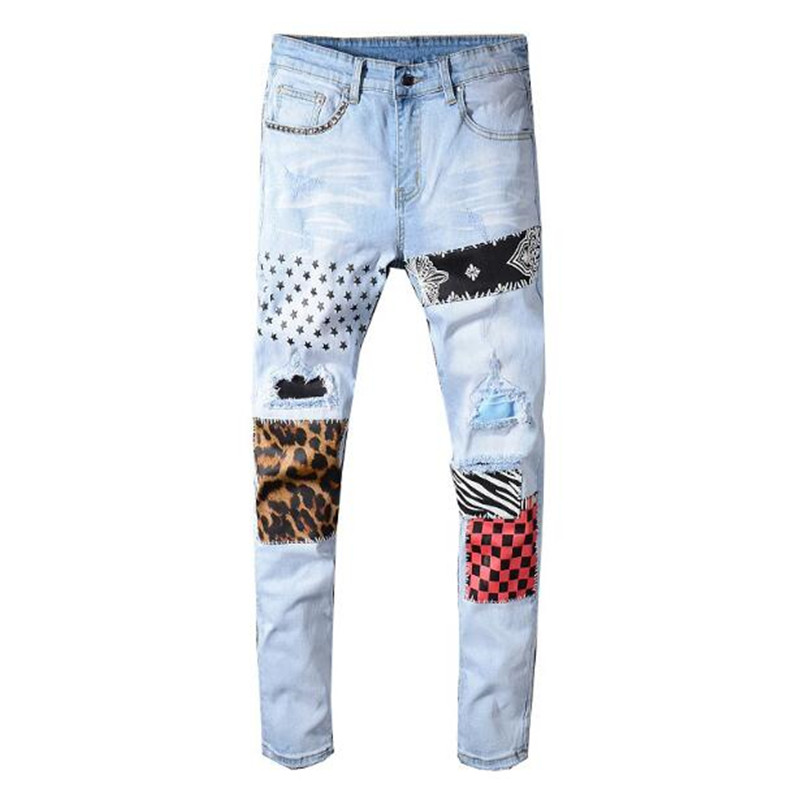 2020 New Men's Stars Printed Leopard Patchwork Rivet Slim Jeans Light Blue Holes Ripped Skinny Stretch Denim Pants Trousers