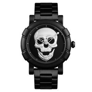 Image 3 - Steampunk duża tarcza zegarek z czaszką mężczyźni 3D szkielet grawerowane złoty czarny dla człowieka moda Punk Rock Dial zegar prezent relogio masculino