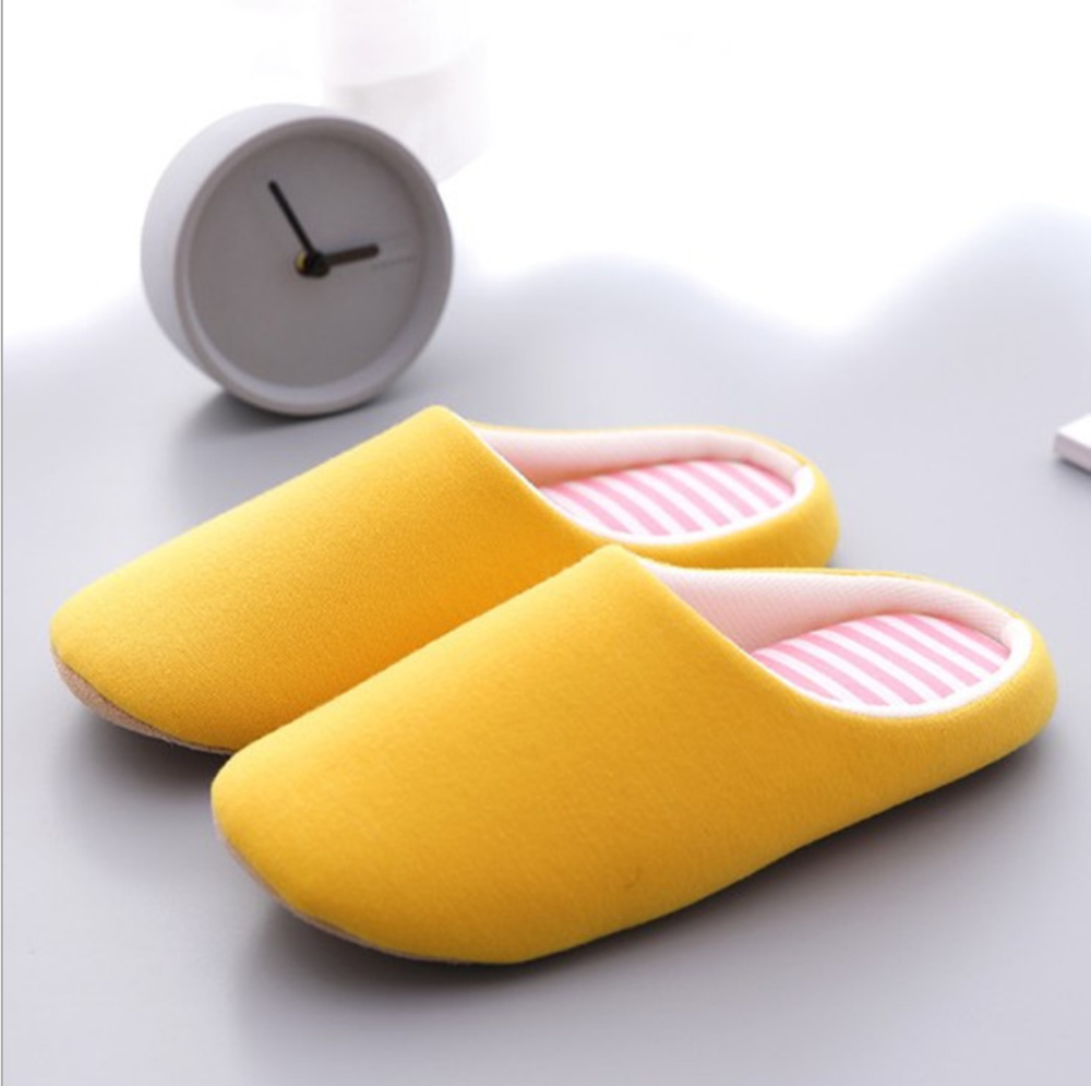 Winter Indoor Couple Cotton Slippers Warm Memory Shoes Mute Non-slip Slippers Flip-flops Flat-soled Shoes Women Slippers