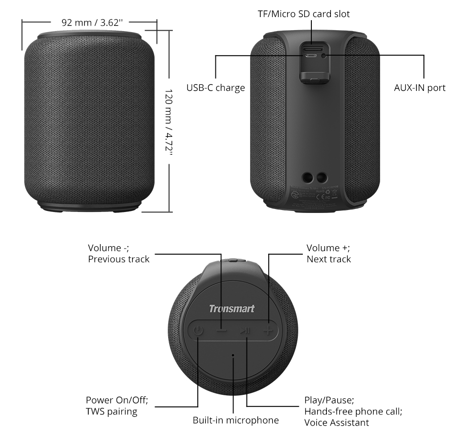 Tronsmart T6 Mini Bluetooth Speaker TWS Speakers IPX6 Waterproof Wireless Bluetooth 5.0 Speaker 24 Hours Play-time Portable Speaker with 360 Degree Surround Sound, Voice Assistant (3)