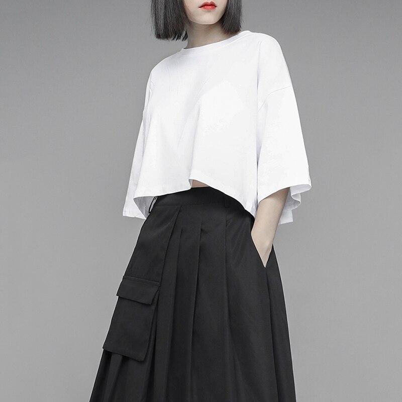 [EAM] Womenwhite Brief Solid Color Cotton Big Size Short T-shirt New Round Neck Half Sleeve Fashion Spring Summer 2020 1U328 3