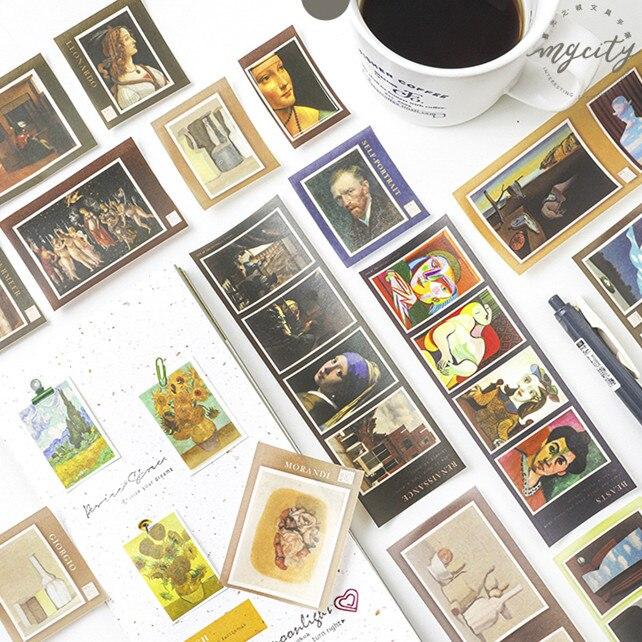 3 Sheets Meet Van Gogh Paper Sticker Album Diy Diary Sticker Handbook Decoration Label Scrapbooking Sticker Label