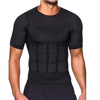 Men Body Toning T-Shirt Body Shaper Corrective Posture Shirt Slimming Belt Belly Abdomen Fat Burning Compression Corset 1
