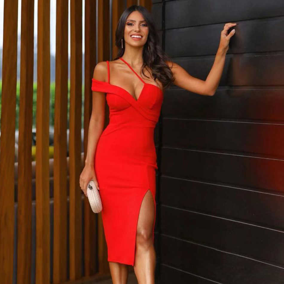 Adyce nouveau été rouge une épaule robe de pansement femmes Sexy sans manches Spaghetti sangle Club célébrité piste robe de soirée Vestidos