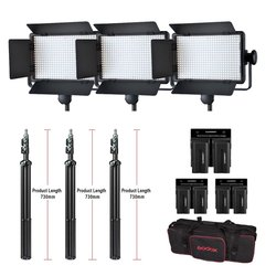 Godox 3pcs LED500C Kit LED Video Continuous Light Lamp Panel + batteries + battery charger + stand tripod with carry Bag
