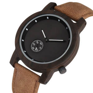 Men Watch Wood Small Hand-Ebony Quartz Creative Genuine-Leather Dial Seconds Men's New