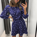 Summer Women Tunic Dresses 2021 Dot Print Cross O-Neck Mini Dress Long Sleeve Flowy Chiffon Party Dress Short Sundress Vestidos