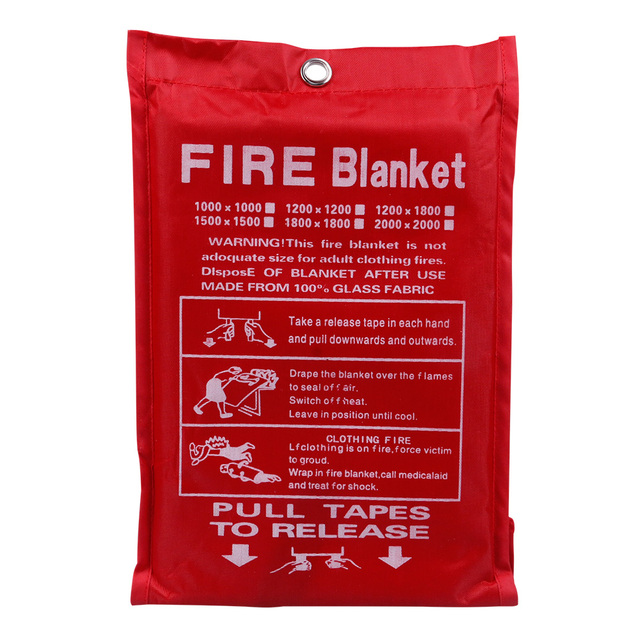 1M X 1M Fire Blanket Fiberglass Fire Flame Retardant Emergency Survival White Fire Shelter Safety Cover Fire Emergency Blanket 1