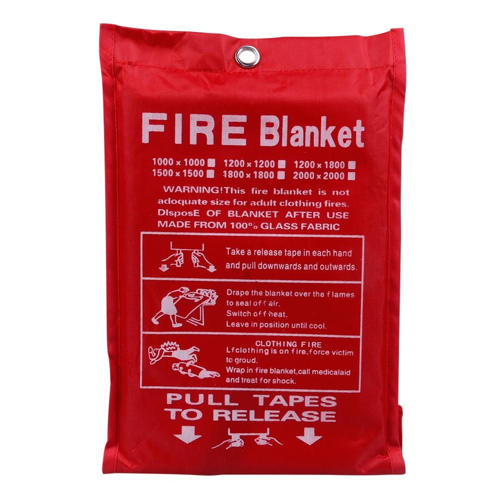 1M X 1M Fire Blanket Fiberglass Fire Flame Retardant Emergency Survival White Fire Shelter Safety Cover Fire Emergency Blanket