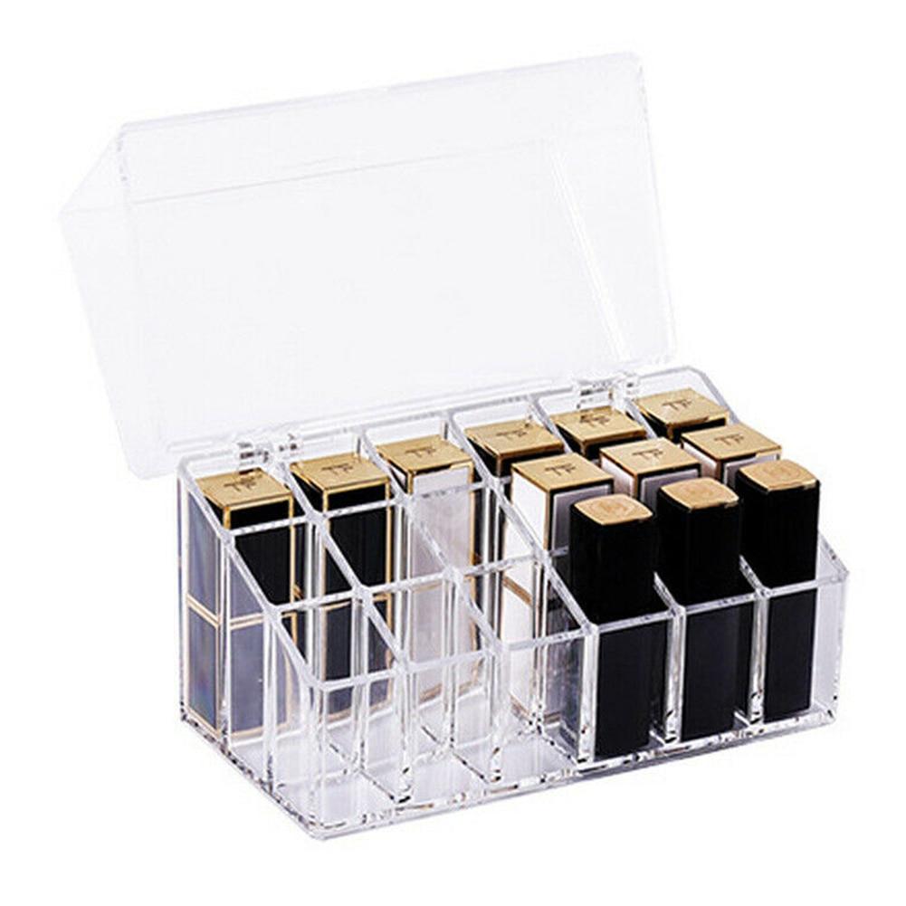 transparente 18 grades compoem gaveta organizador batom armazenamento cosmeticos caixas hjl2019