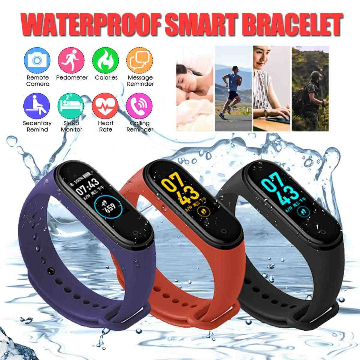 IP67 M4 Smart Wristband fitness Watch Health Heart rate band Blood Pressure Smart Bracelet for Men Women Smartband