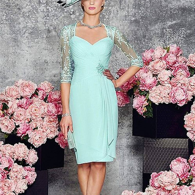Two-Pieces-Zipper-Mother-of-Bride-Dress-with-Long-Sleeves-Jacket-Simple-Chiffon-Short-Dresses-Knee (2)