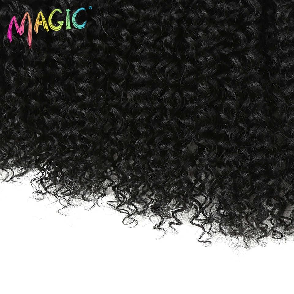 Magic Afro rizado pelo sintético tejido de pelo 16-20 pulgadas 7 unids/lote mechones con cierre de encaje africano para mujeres extensiones de cabello