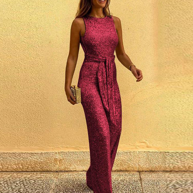 Spring Women Glitter Jumpsuit Sexy Backless Bandage Romper Overall Summer Sleeveless Shiny Belt Party Playsuit Bodysuit Clubwear 6