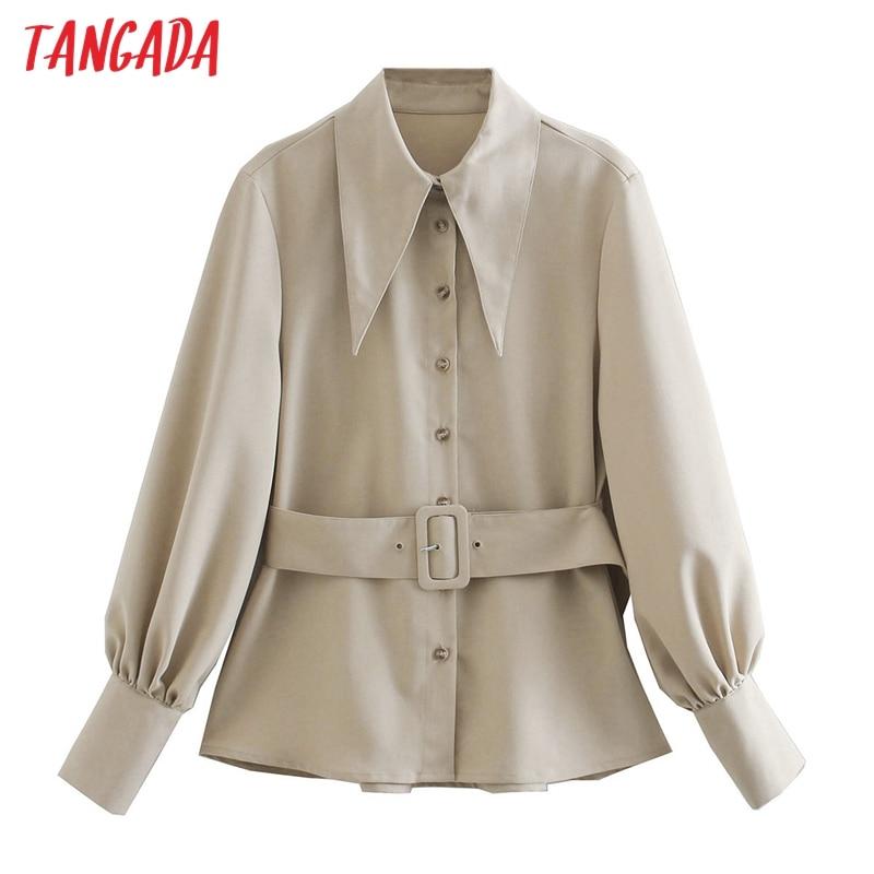 Tangada-camisas lisas con cinturón para mujer, Blusa de manga larga lisa con cuello vuelto, Ropa de Trabajo de oficina elegante CE56