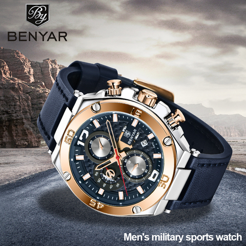 Relógios de Quartzo dos Homens Topo da Marca Relógio de Pulso Benyar Novos Multifunções Esporte Cronógrafo Relógio Masculino Luxo 2020