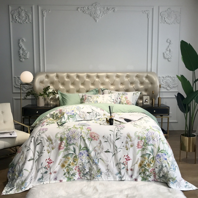 Bloom Flowers Leaves Duvet Cover Set 600TC Egyptian Cotton Bedding Set Queen King Size Quilt Cover Bed Sheet Set Pillowcase