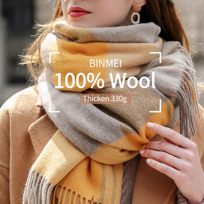 Plaid 100% Wool Scarf For Women Thicken Warm Wool Shawls And Wraps Ladies Echarpe Pashmina Winter Cashmere Scarves Foulard Femme