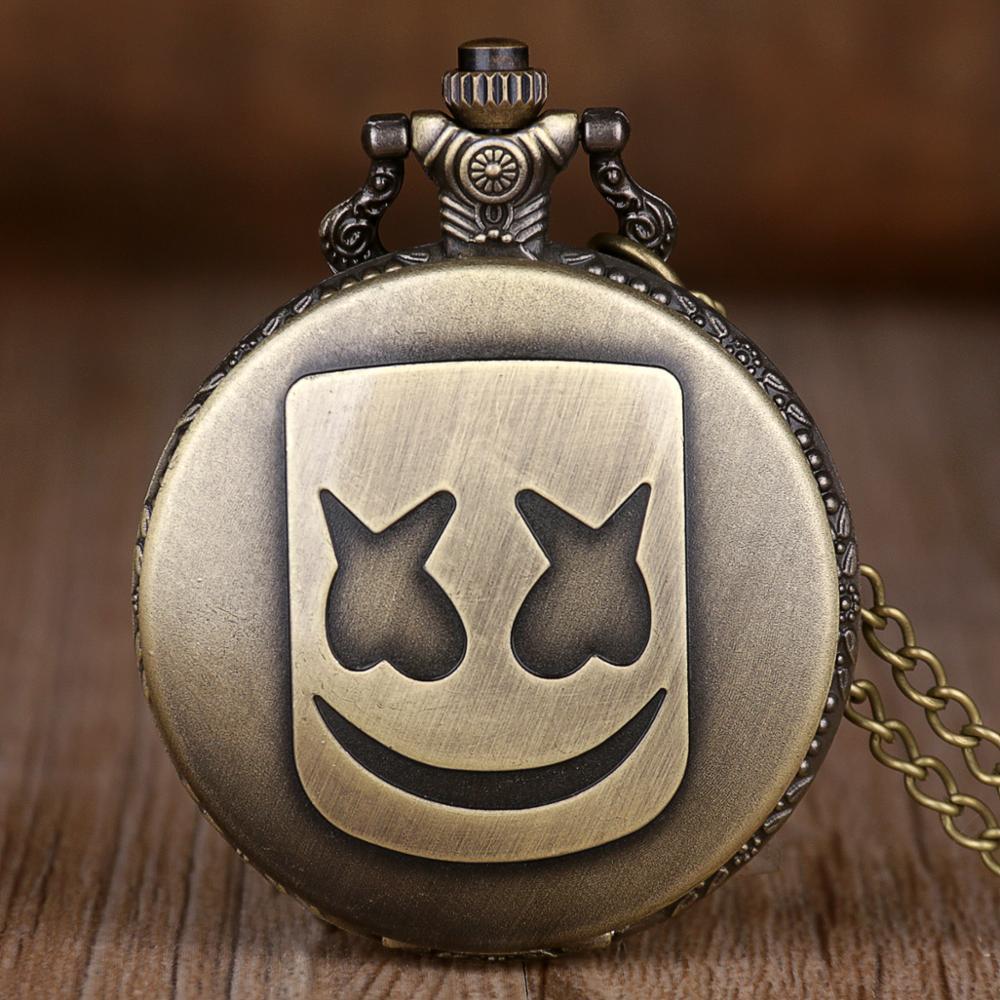New Vintage Antique Clown Droll Pattern Pocket Watches Necklace Chain Bronze Vintage Mens Womens Quartz Pocket Watch Fob Watches