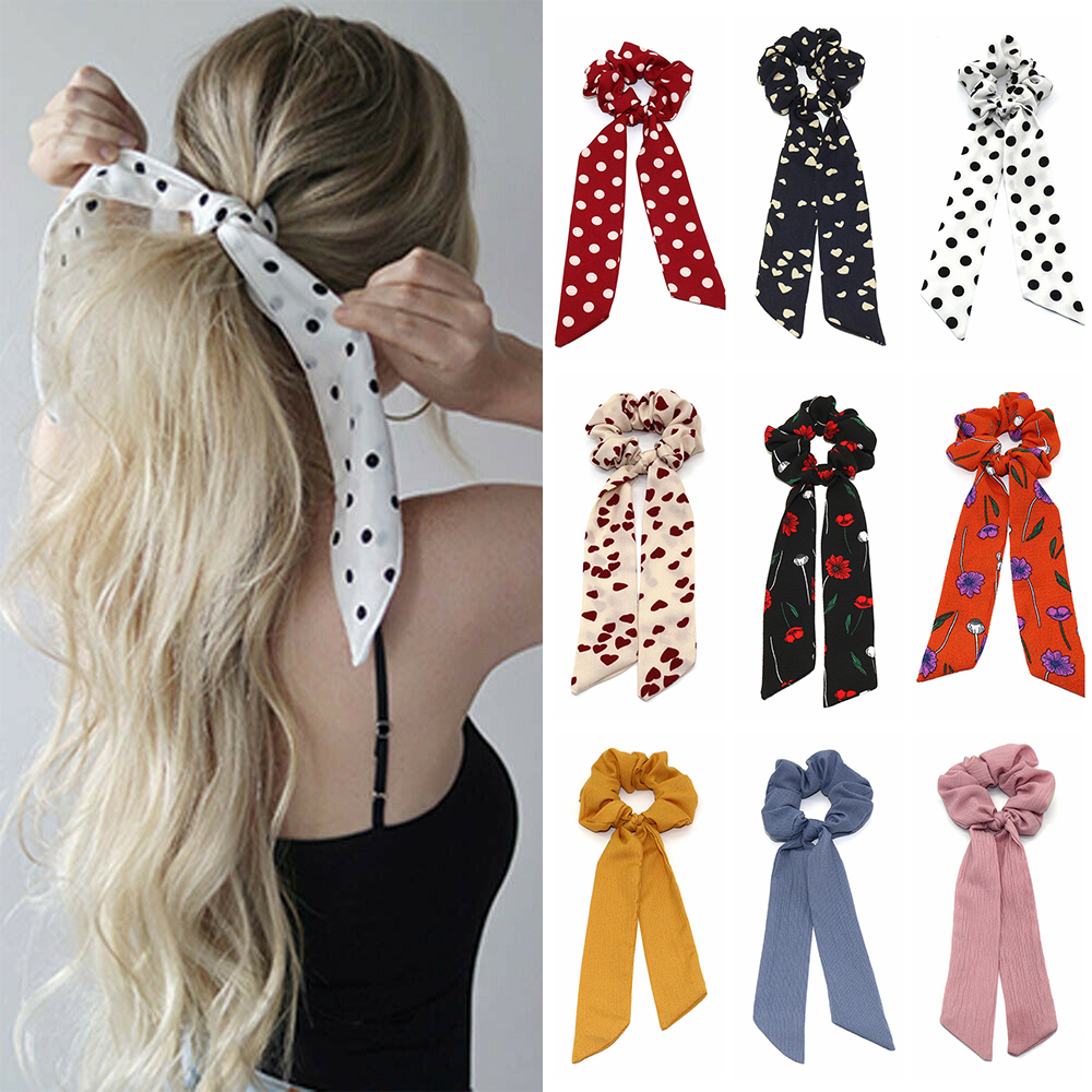 Bohemian Style Women Floral Print Scrunchie Hair Scarf Elastic Bow Hairband Hair Rubber Girls Hair Ties Ropes Hair Accessories