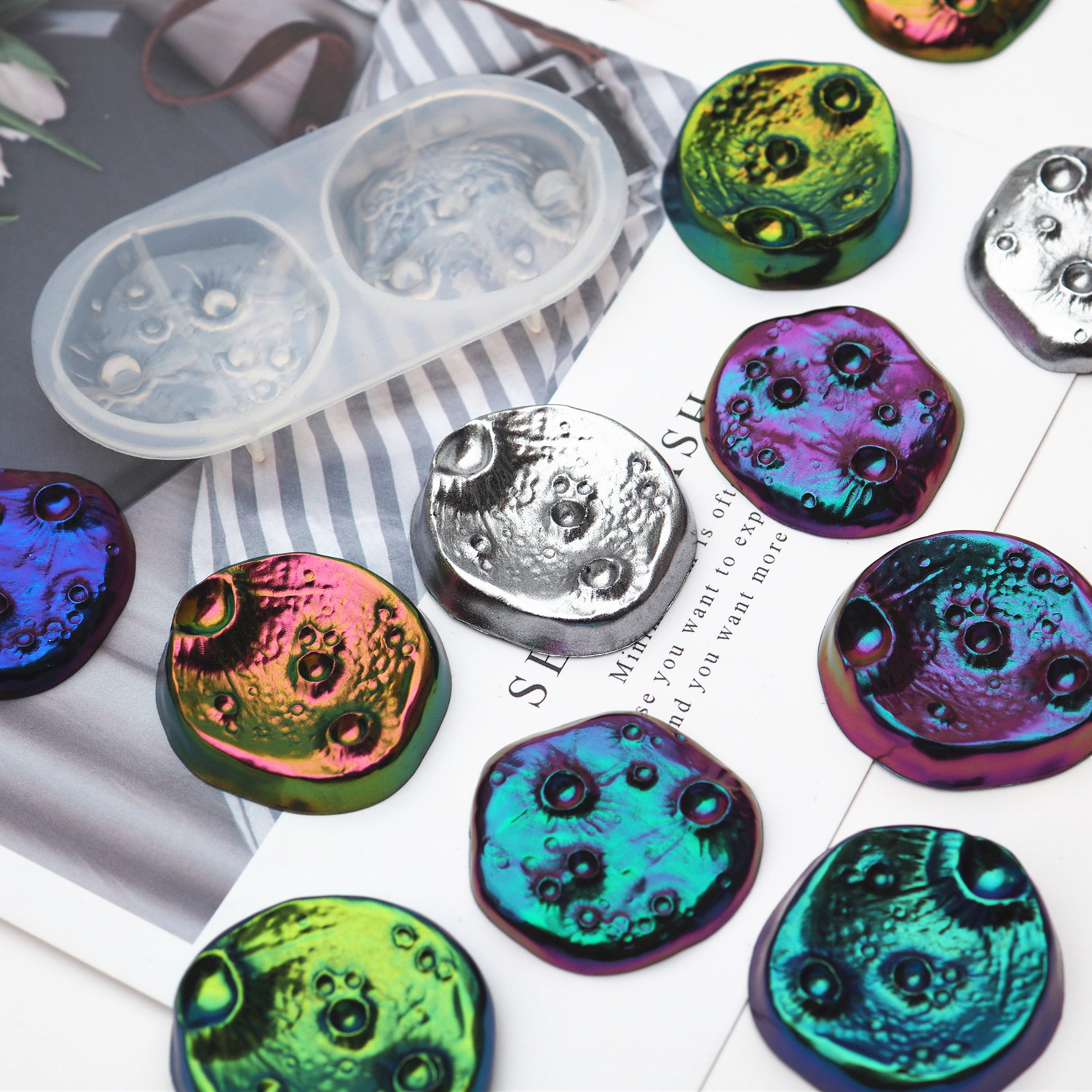 DIY Epoxy UV Resin Crater Hole Planet Surface Crater Abrasive Aroma Gypsum Mold Jewelry Molds