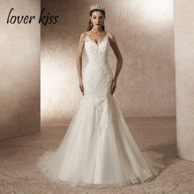 Lover Kiss Vestido De Noiva 2020 Wedding Dress Mermaid Spaghetti Straps Backless Lace Beaded Bridal Gowns Abito da sposa