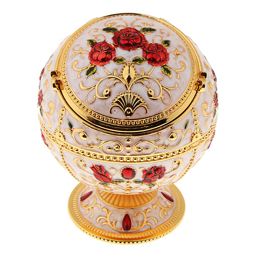 Zinc Alloy Jewelry Box With Lid Windproof Ashtray Vintage Flower Embossed Jewelry Box Trinket Case Jewelry Storage Home Decor