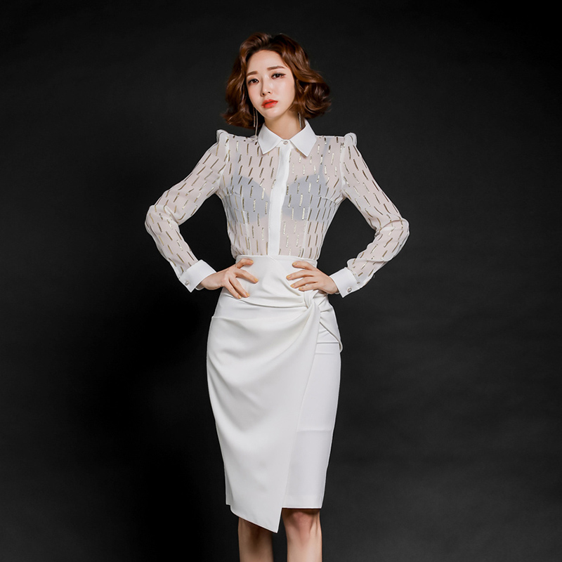 Elegant OL Style 2 Pieces Suit Set White Blouse High Waist Skirt Office Ladies Women Set