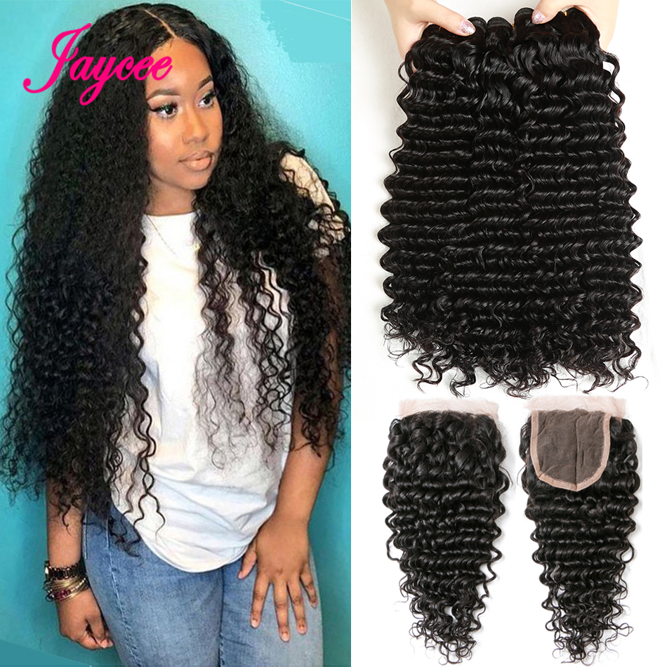 Cheap 10A Brazilian Deepwave Bundles With Closure 3 Bundles With Closure Deep Curly Bundles With Closure Human Hair Extensions