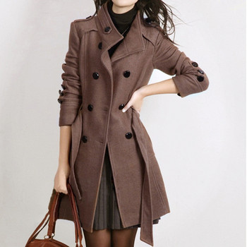 2019 Woolen Coat Long Sleeve Winter Women Pockets Slim Fit Parkas Plus Size Europe Style Female ladies Autumn Woolen Coats FA
