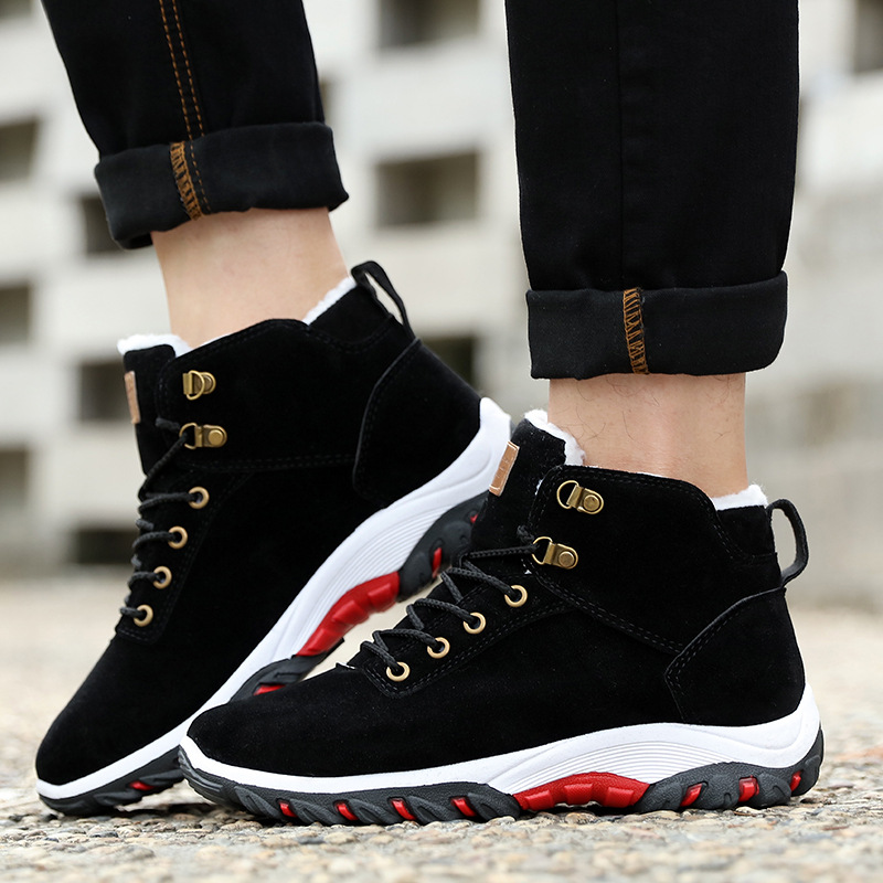 Men Snow Boots Winter Cotton Shoes with fur Lace-up Sneakers Warm Fleeces Ankle Boots High Flat Casual Shoes Solid Anti-skid 3