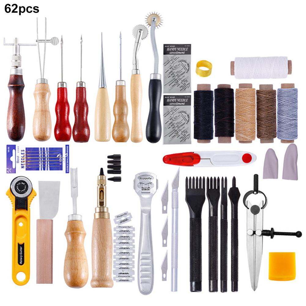 62PCS Canvas Leather Sewing Shoes Repair Tool Sets DIY Awl Hand Stitching Taper Craft Needle #
