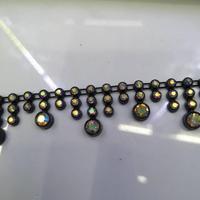 Perla plástica de imitación con cadena de diamantes de imitación, 5 yardas, negro, blanco, AB, embellecedor, vestido de boda, artesanal