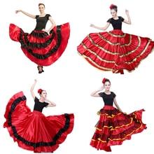 Размера плюс леди испанский фламенко юбочные танцевальные костюмы одежда для женщин Красный Черный испанская коррида фестиваль танец живота одежда