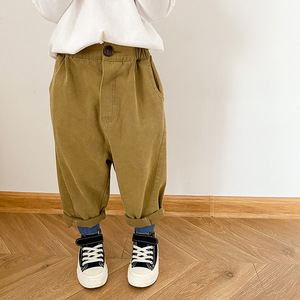 Autumn boys and girls casual loose straight pants Kids solid color all-match cotton trousers