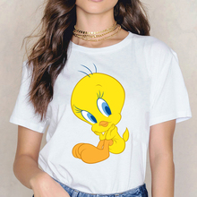 Looney Tunes T Shirt harajuku kawaii Tweety Bird print funny t shirts women tumblr clothes summer top female white t-shirt tees цена