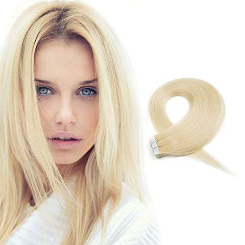 Eseewigs Human Hair Extension Tape In Hair For Women Seamless Double Sided Reusable Glue On Skin Weft Blonde 613 20Pcs 50g Set