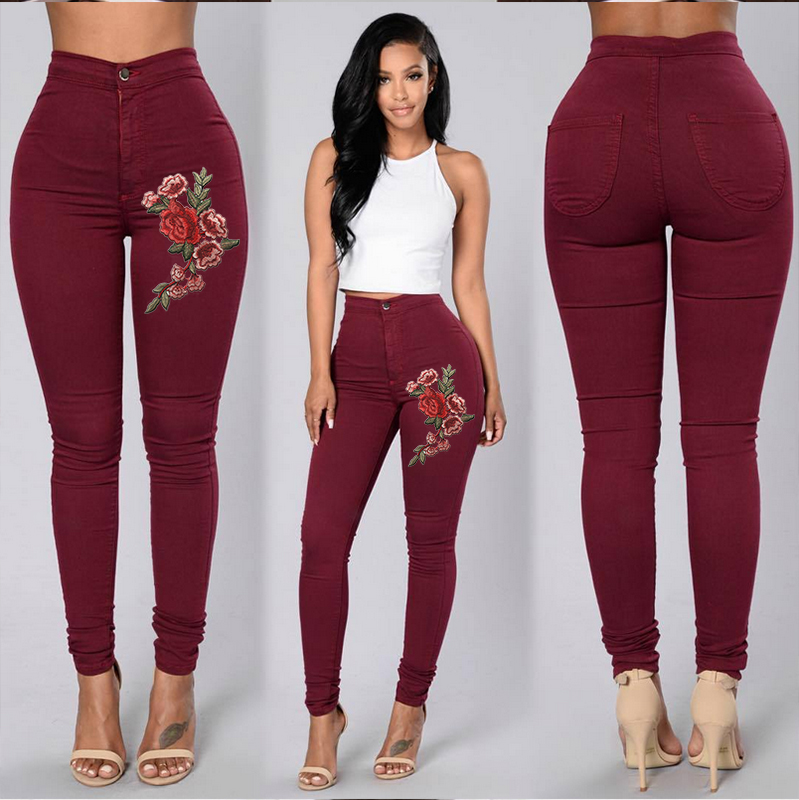 H09b0d2c2167e4c16a735cd7848e1fc708 Goocheer 5 Colors Style Women Denim Skinny Leggings Pants High Waist Stretch Jeans Rose Pencil Trousers Plus Size S-3XL